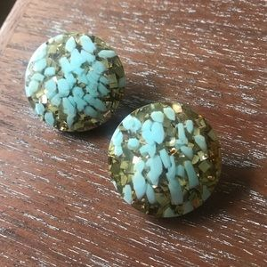Pair of Vintage Confetti Earrings Gold & Turquoise